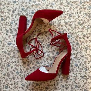 Red tie up heels